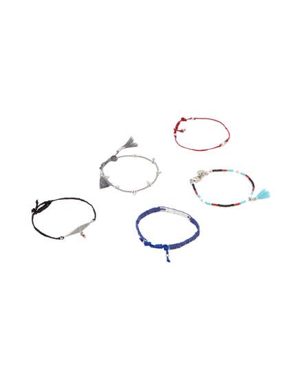 Pack 5 pulseras abalorios y ojo