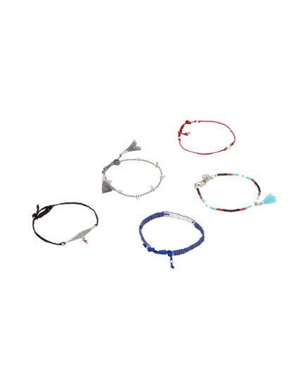 Pack of 5 bead and eye bracelets