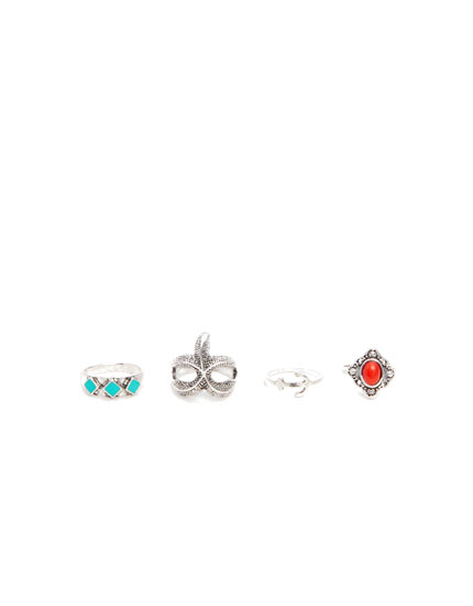 Pack of 4 starfish rings