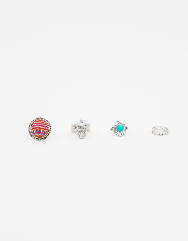 4 Pack Of Eagle Head Rings by Pull & Bear