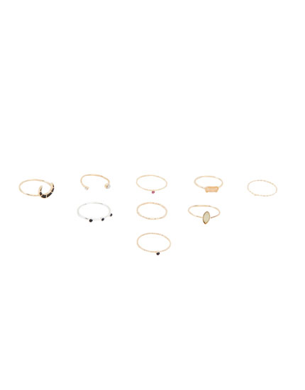 9-pack of multi-piece rings