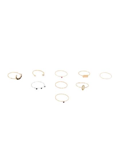 Pack 9 anillos multipiezas