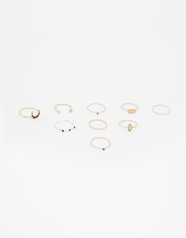 9 Pack Of Multi Piece Rings by Pull & Bear