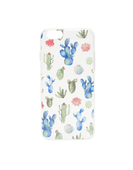 Flower and cactus print phone case
