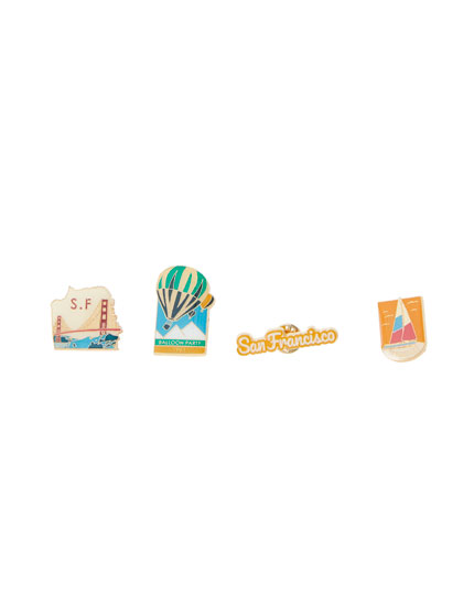 4er-Pack Pins mit Stadtmotiven