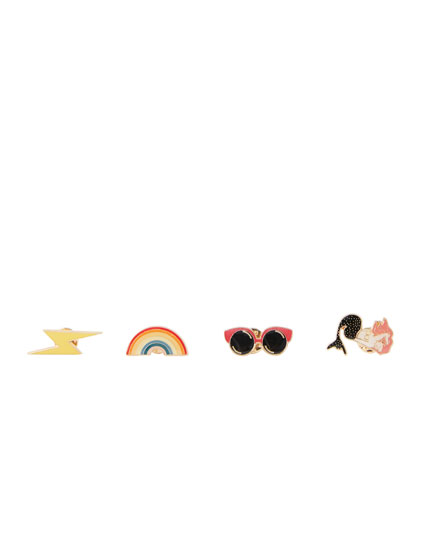 Lot de 4 pin's arc-en-ciel