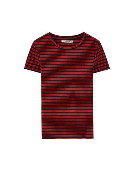 Camiseta básica canalé rayas