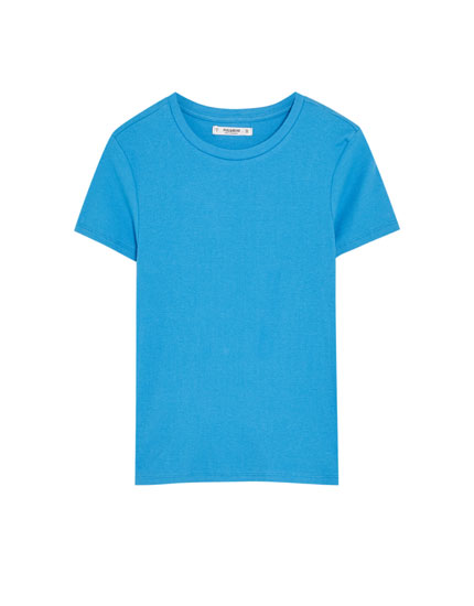 Basic plain ribbed T-shirt