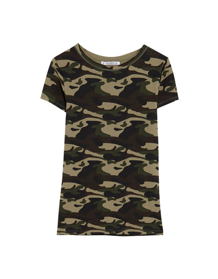 T-shirt col rond camouflage
