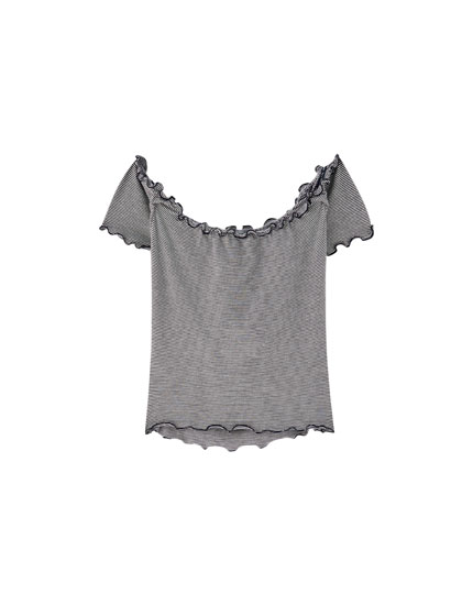T-shirt with scalloped trim