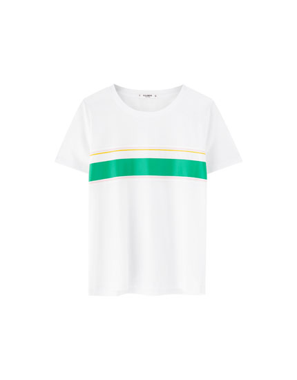 T-shirt color block multicolorida