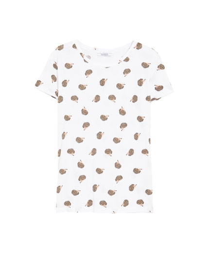 Short sleeve T-shirt with hedgehogs