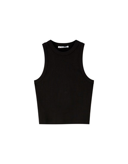 Basic plain halterneck top