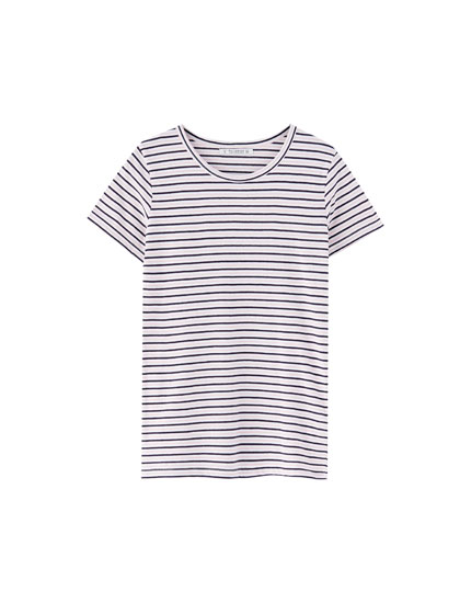 Wide-rib striped T-shirt