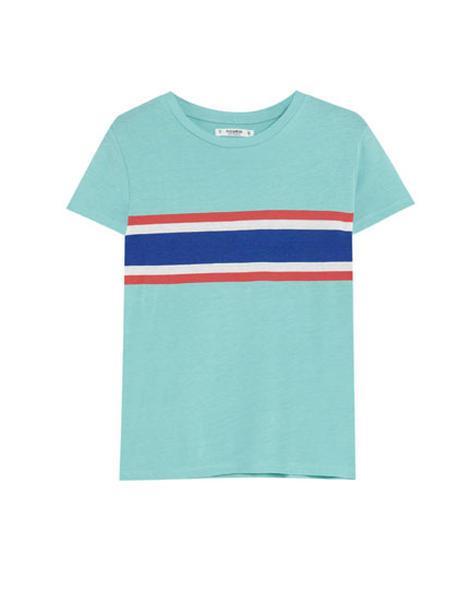 T-shirt with three-tone stripe