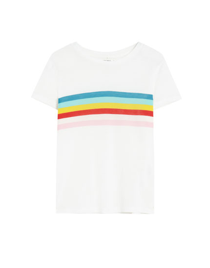 White T-shirt with three-tone stripe