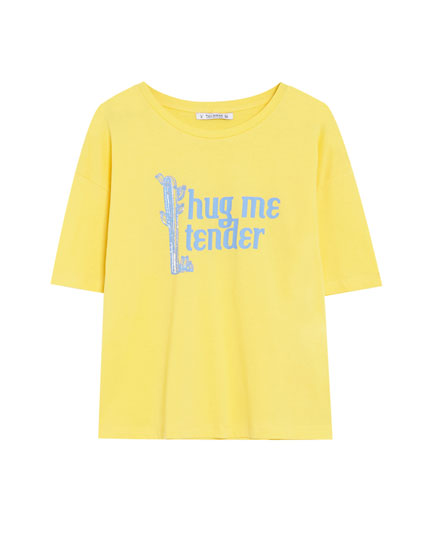 Short sleeve cropped T-shirt with slogan