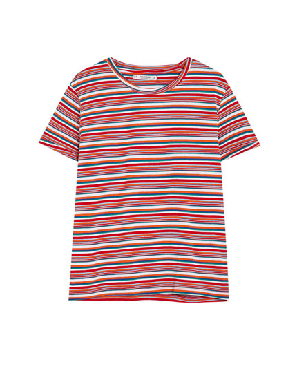 Basic multicoloured stripe T-shirt