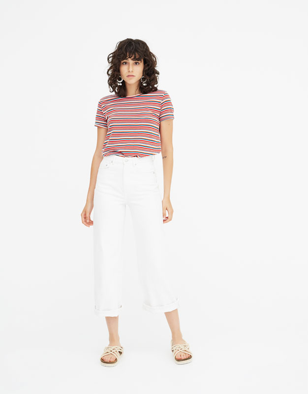Basic Multicoloured Stripe T Shirt by Pull & Bear
