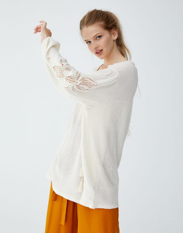 T Shirt De Estilo Boho Em Crochet by Pull & Bear