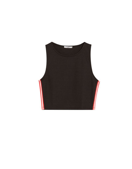 Sleeveless T-shirt with side stripes