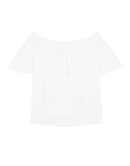 Embroidered top with shirred neckline