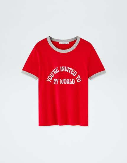 T-shirt with retro slogan and ribbed trims