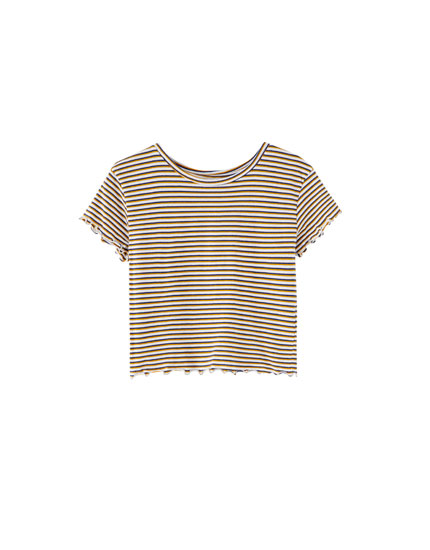 Wide-ribbed T-shirt with fine stripes