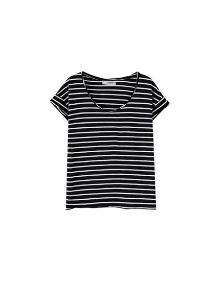 Basic striped T-shirt with piped seams
