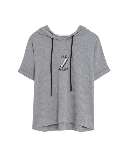 Hooded short sleeve T-shirt