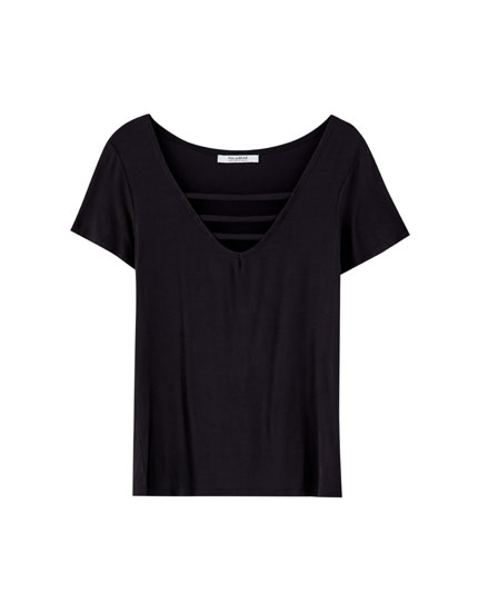 V-neck T-shirt with strap detail
