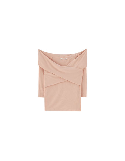 Plain crossover neckline T-shirt