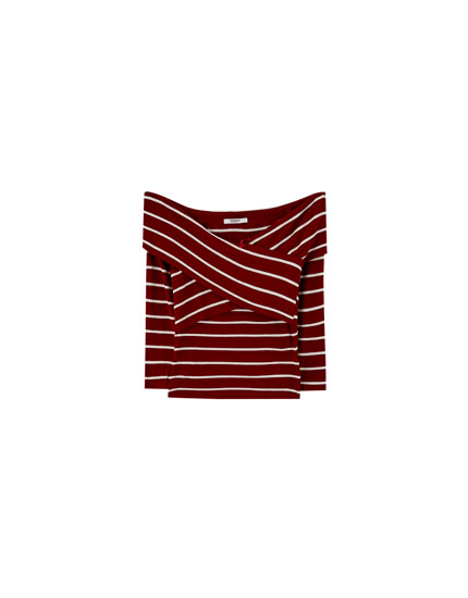Striped crossover neckline T-shirt