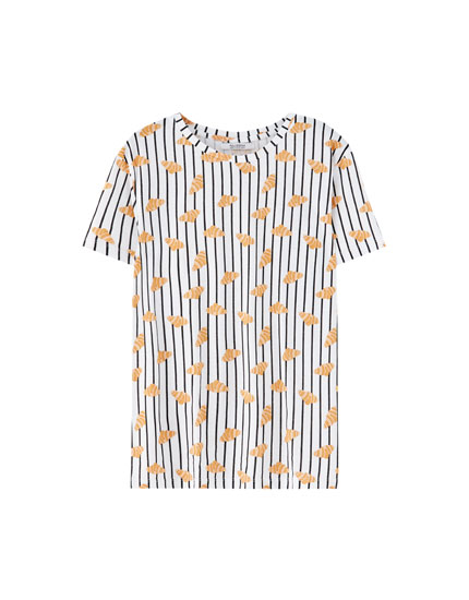 Striped croissant print T-shirt