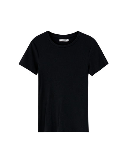 Basic T-shirt i ribstof