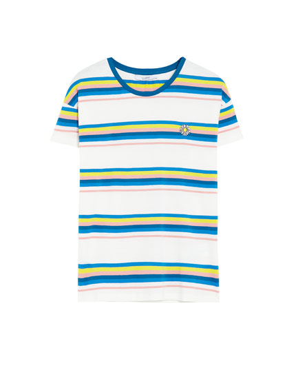 Multi-stripe T-shirt with embroidered detail