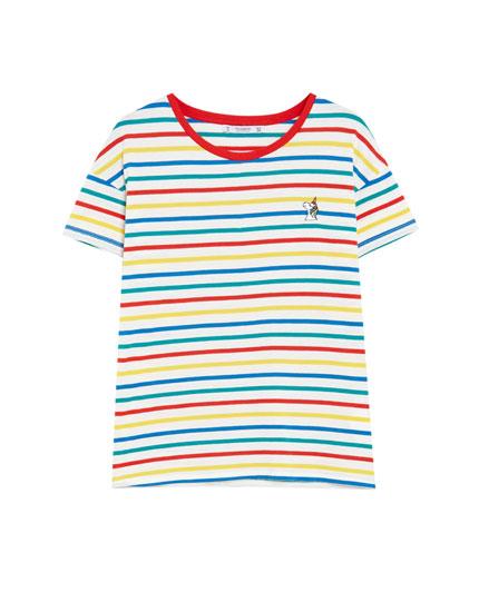 T-shirt rayures avec broderie