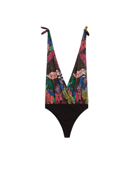 Printed bodysuit with knotted straps