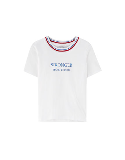 Slogan T-shirt with trims