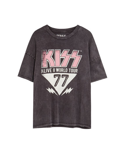 Black 'KISS 77' T-shirt