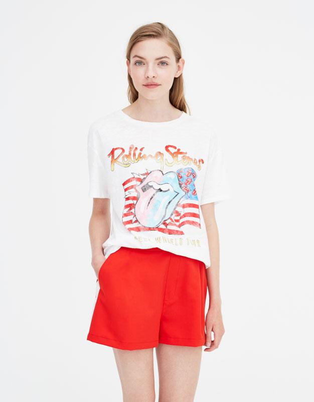 Μπλούζα λευκή The Rolling Stones by Pull & Bear