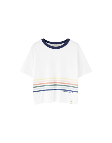 Rainbow T-shirt with ribbed neckline
