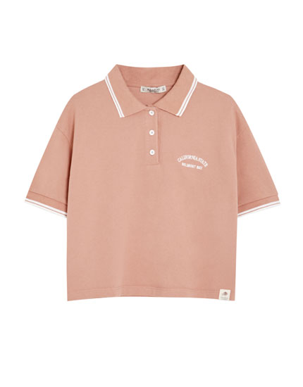 Salmon pink piqué polo shirt