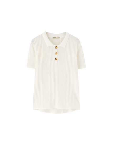 Button-up ribbed polo shirt