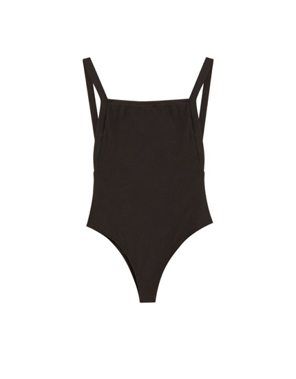 Bodysuit with straps and square-cut back