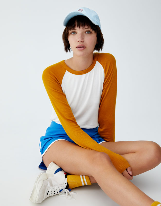 T Shirt Manches Longues Contrastantes by Pull & Bear