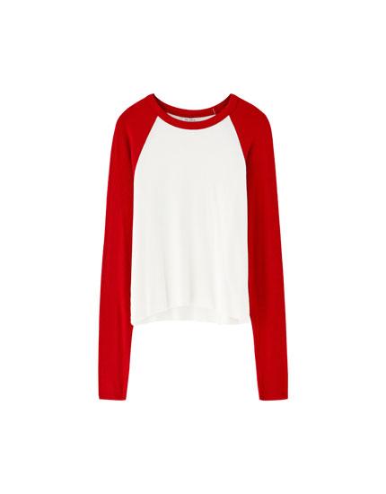 T-shirt med lange ærmer i kontrast