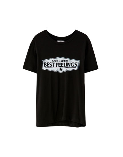 Printed slogan panel T-shirt