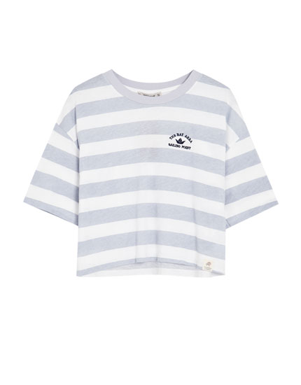 Striped T-shirt with embroidered detail