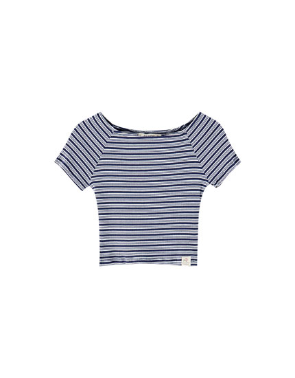 Ribbed mini stripe off-the-shoulder top